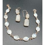 Rainbow Moonstone Bracelet with matching Raw Dangler Earrings in Sterling silver rose gold finish.