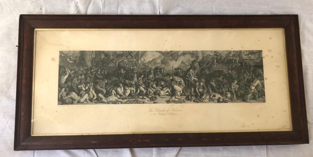 An engraving by Charles W. Sharpe- The Death of Nelson at the Battle of Trafalgar, based on the - Image 2 of 4