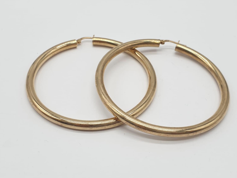 Pair of Silver Gilt HOOP EARRINGS. 11g. 6cm diameter.