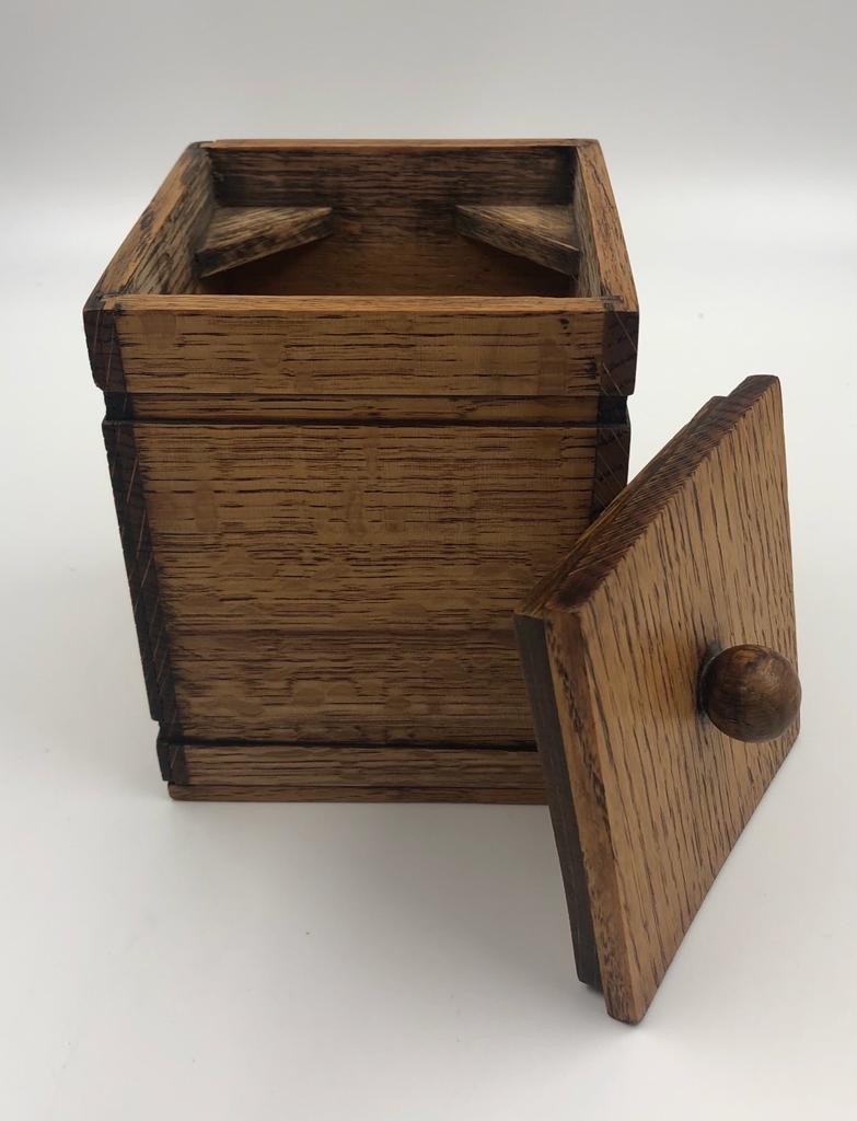 Trio of wooden STORAGE CONTAINERS. The bowl, the open top box and the roller shutter box. - Image 4 of 4