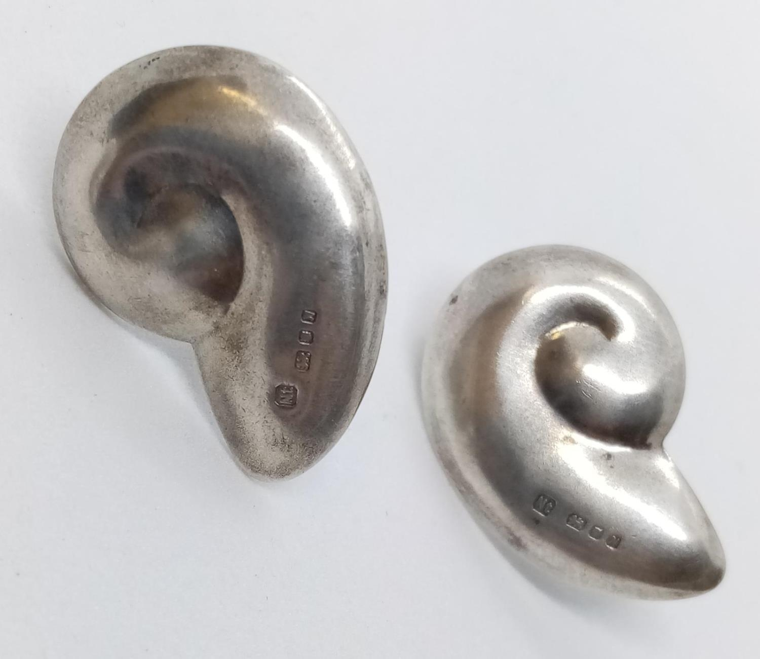 Pair of Silver EARRINGS. spiral shell shape.