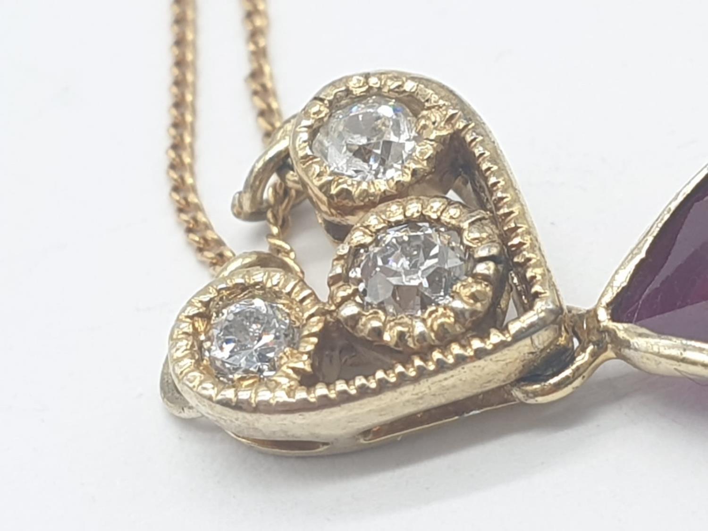 Large PENDANT 10ct Ruby & 3 x Diamonds on 9ct fine CHAIN. 5.1g. 46cm length. - Image 4 of 8