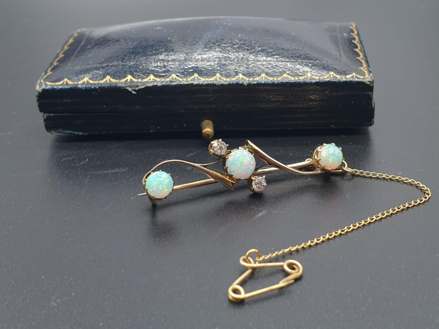 Opal Yellow Metal and Diamonds Antique BAR BROOCH. 3.5g 4cm width. - Image 7 of 8