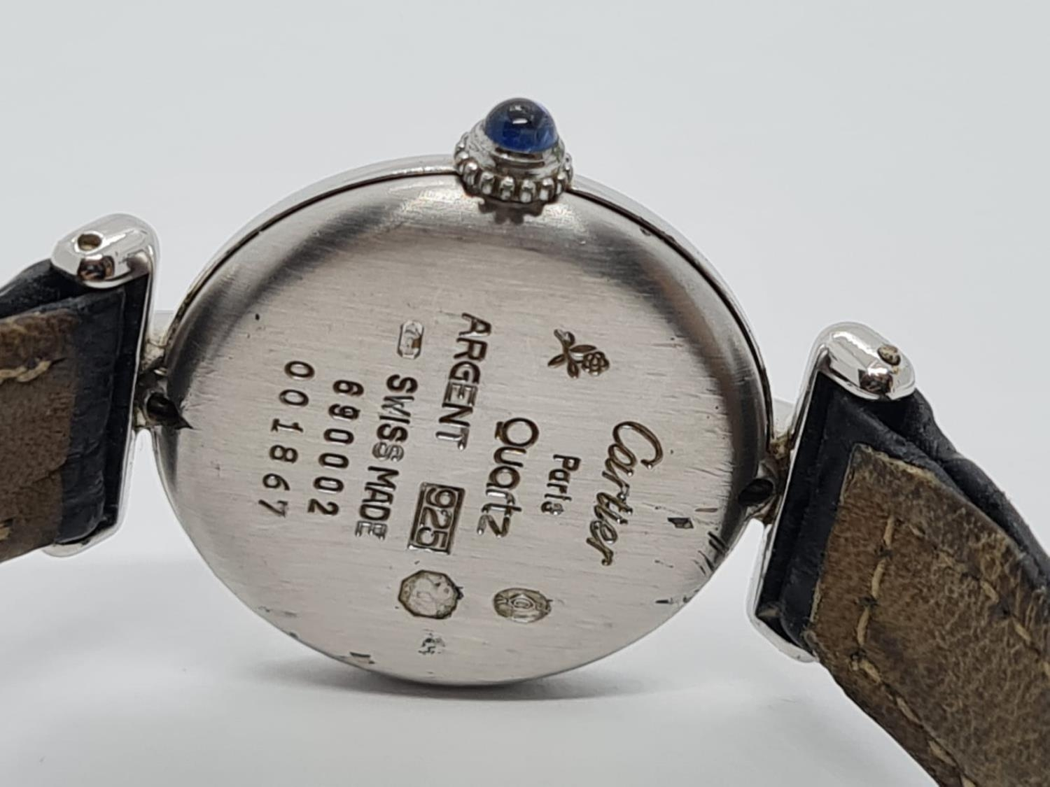 Vintage Cartier Ladies quartz WATCH with round face and Roman numerals. set in 925 Silver with - Image 3 of 5