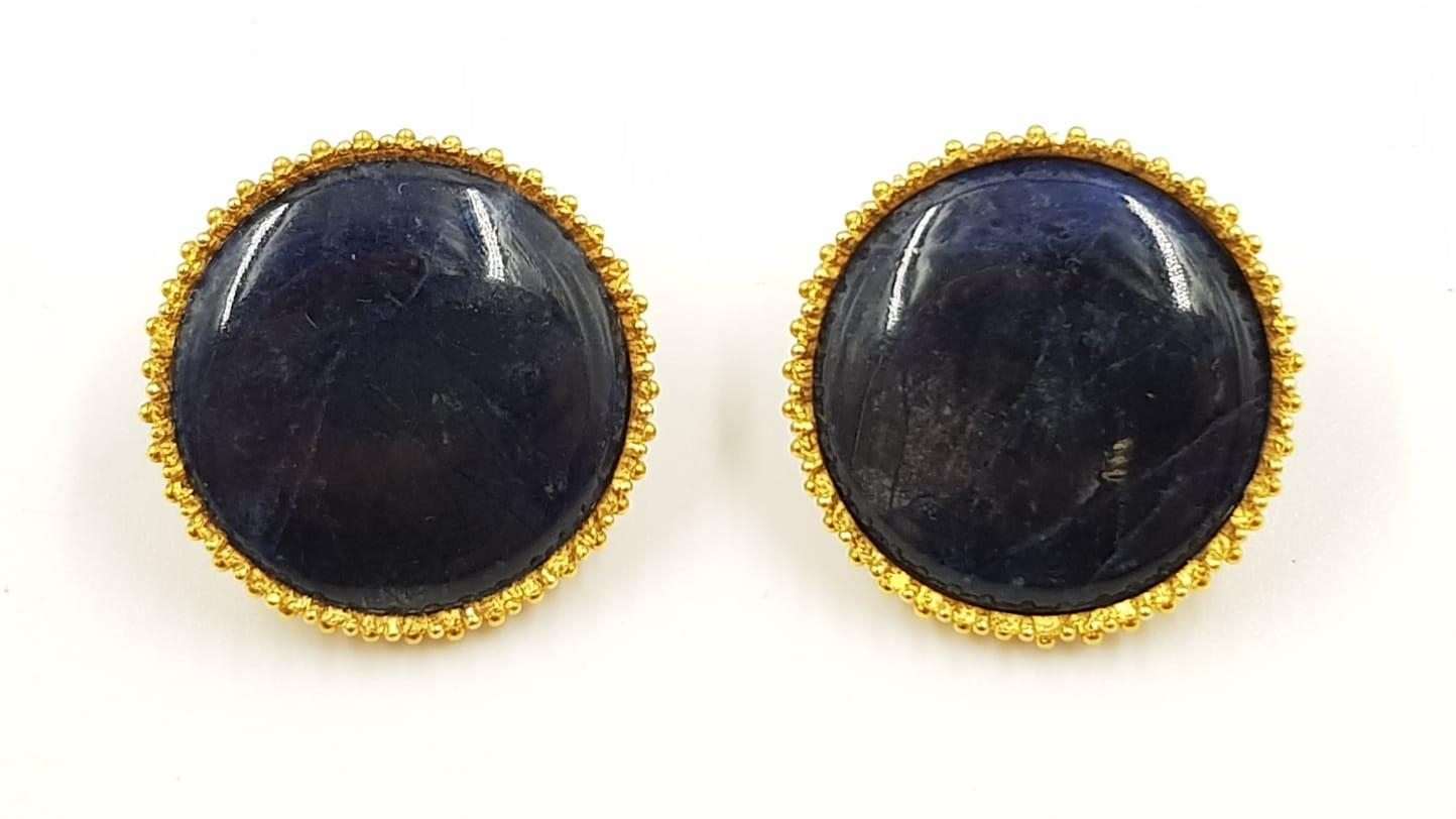 A pair of Lalaounis designer 18ct gold and sodalite earrings. 20.44g total weight. - Image 2 of 3