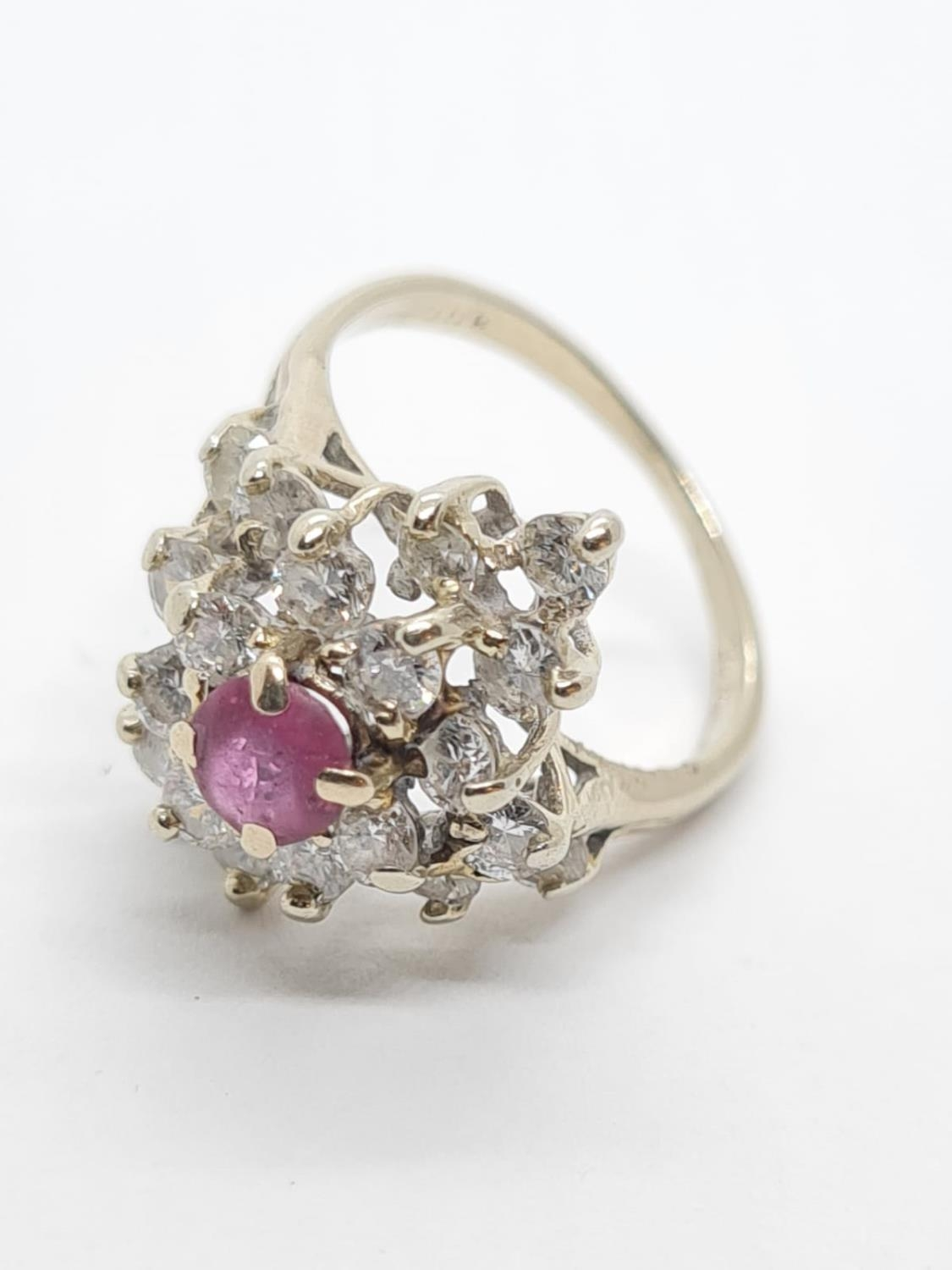 14ct Gold Ruby and Diamond RING. 2.8g Size H - Image 3 of 3