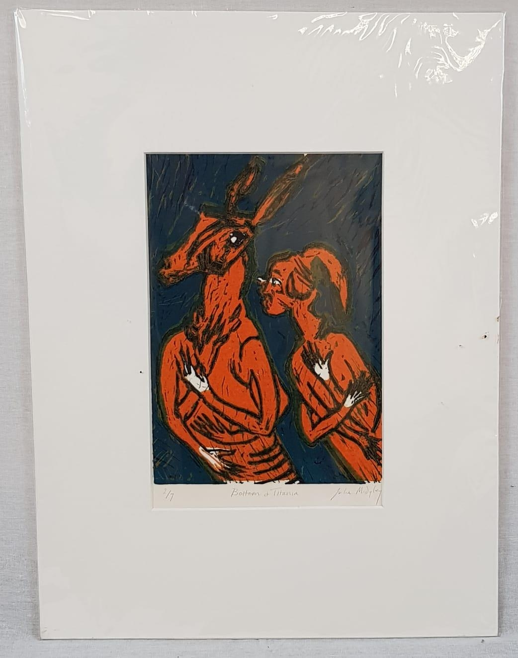 Bottom and Titania by Julia Midgley. A limited edition (2 of 7) linocut print from this celebrated