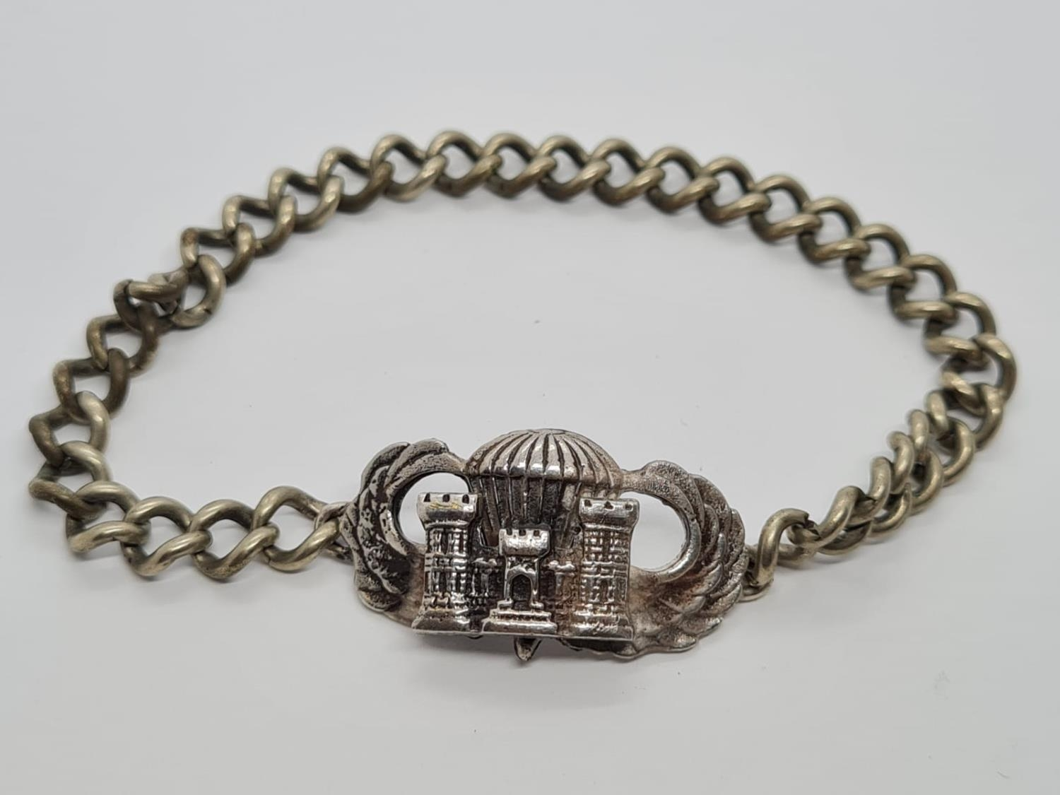 WW2 Solid Silver US Airborne Recon Jump Wings on a silver-plated wrist chain.