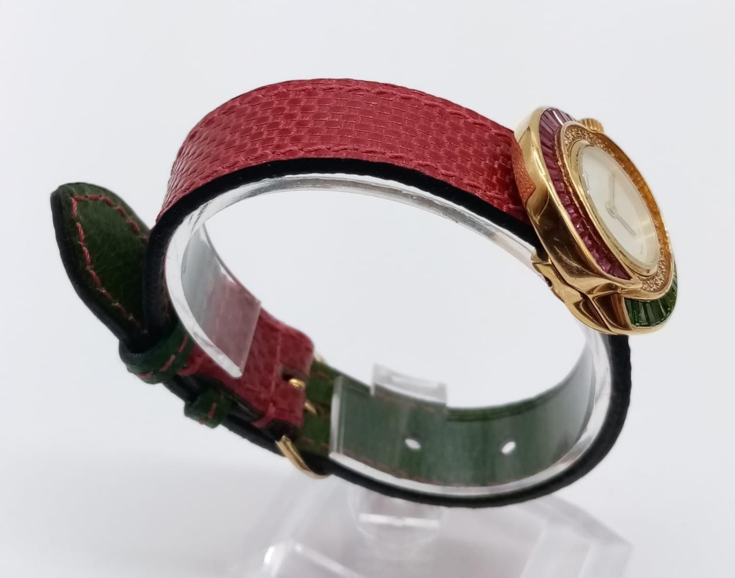 Vintage Bouquet 18ct gold ladies dress watch, round face with emerald, ruby and diamonds surround, - Image 4 of 9