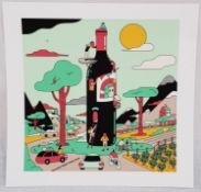 An original print (3 of 25) from the work of French artist Simon Landrein. Title of piece - Vin