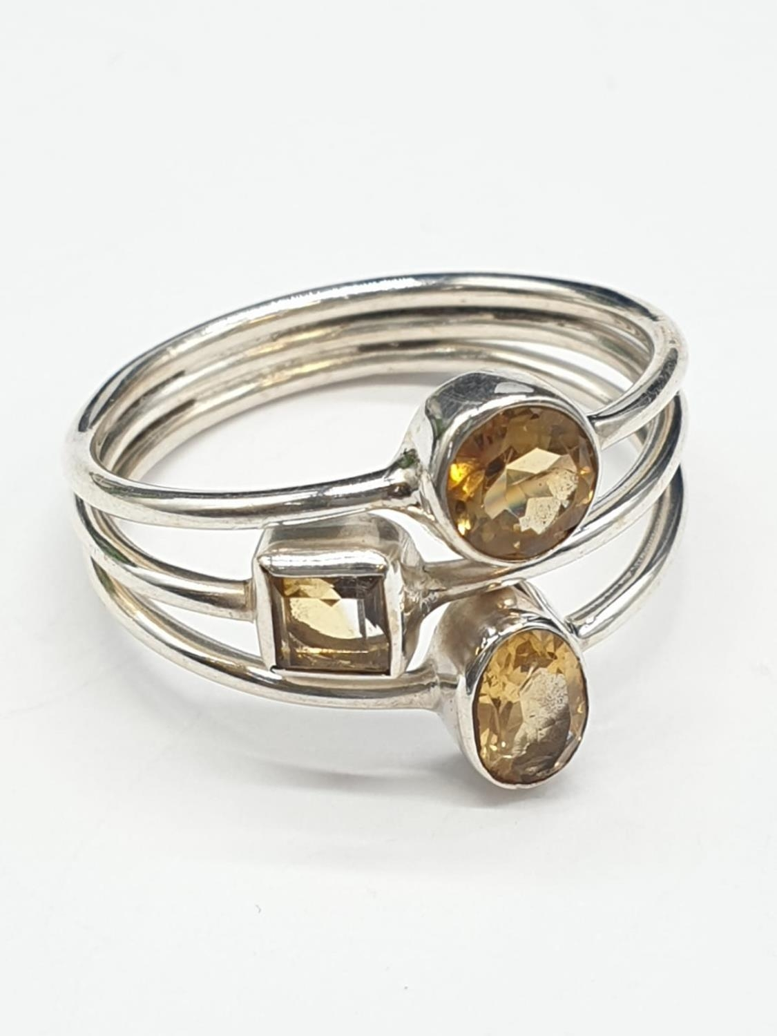 Marquise Shape Citrine Bracelet with Matching Dangler Earrings and Ring in Sterling Silver. Ring - Image 4 of 6