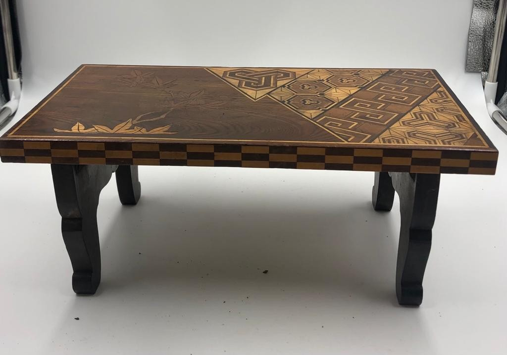 A vintage Japanese style mini coffee table with folding legs, stylish engraved and lacquered, - Image 2 of 4