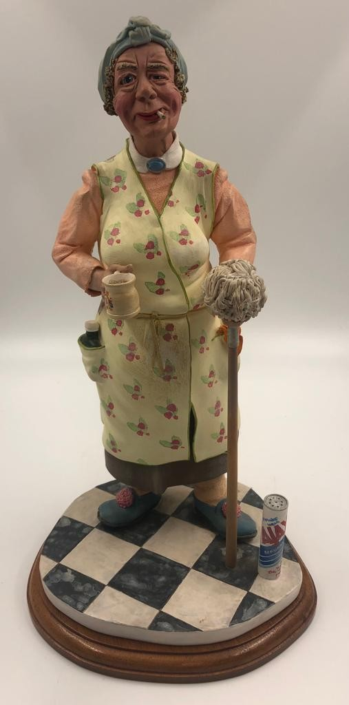 An original Colin George Mrs Mop SCULPTURE. A beautifully detailed piece of ceramic, made in 1985.