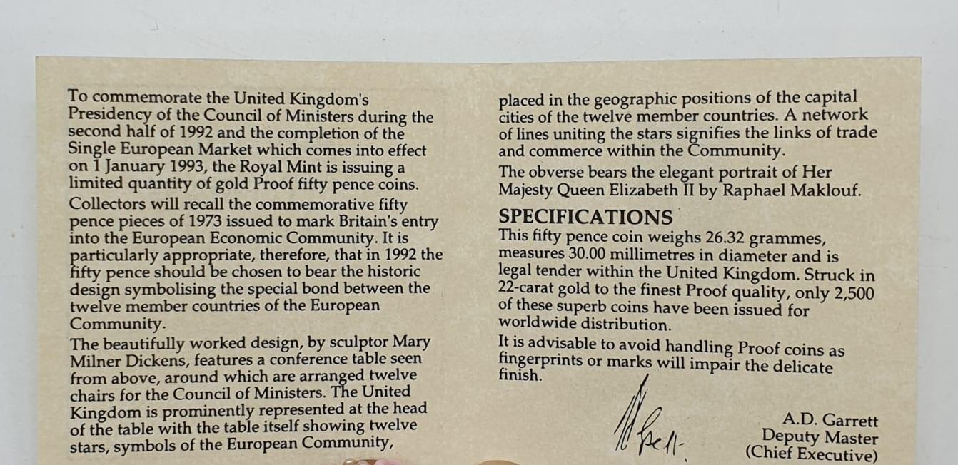1992-1993 GOLD PROOF 50P COIN EU, SET IN 22ct GOLD, WEIGHT 26.32g With ORIGINAL BOX AND COA - Image 4 of 5