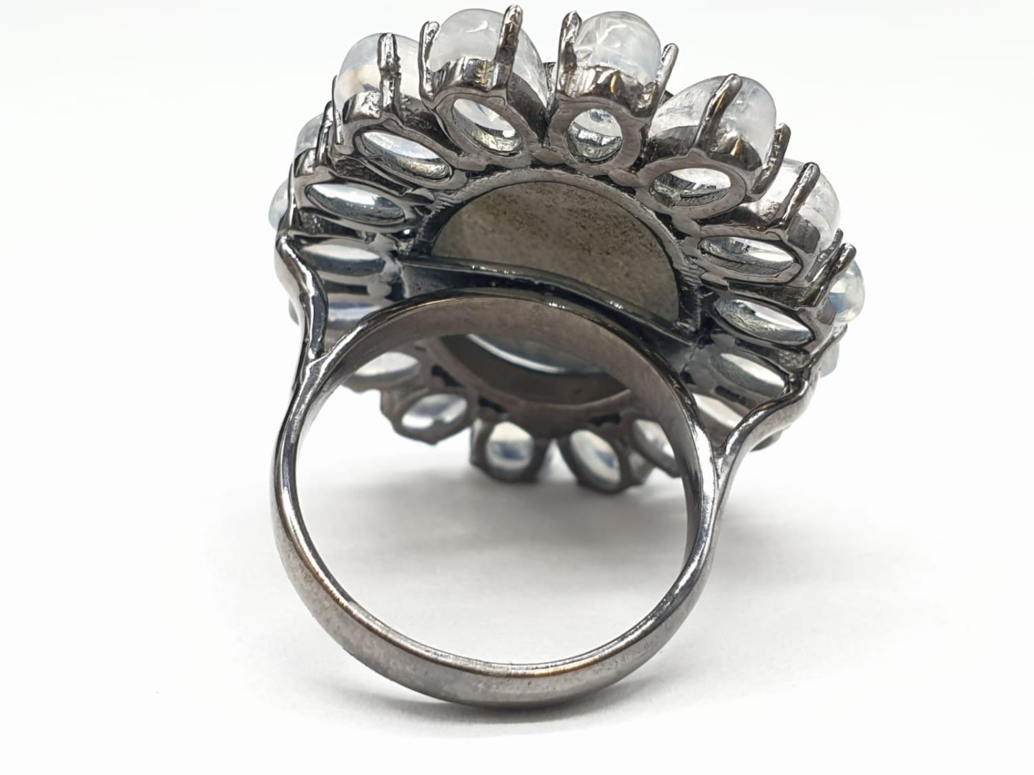 10.50 Ct Moonstones & 14.25 Ct Labradorite set within a blackened silver ring, weight 11.62g and - Image 4 of 7