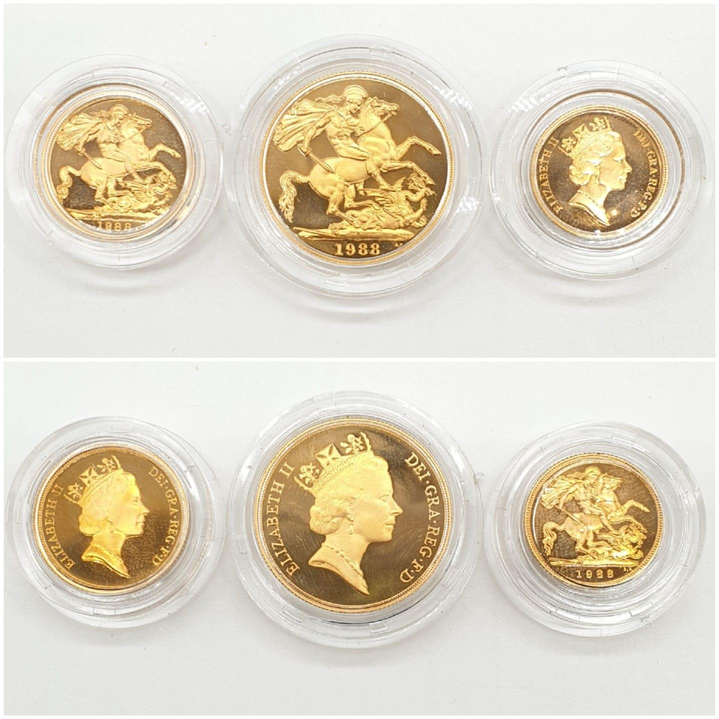 1988 UK GOLD PROOF 3 COIN COLLECTION TO INCLUDE A DOUBLE SOVEREIGN, A SOVEREIGN AND A HALF - Image 2 of 6