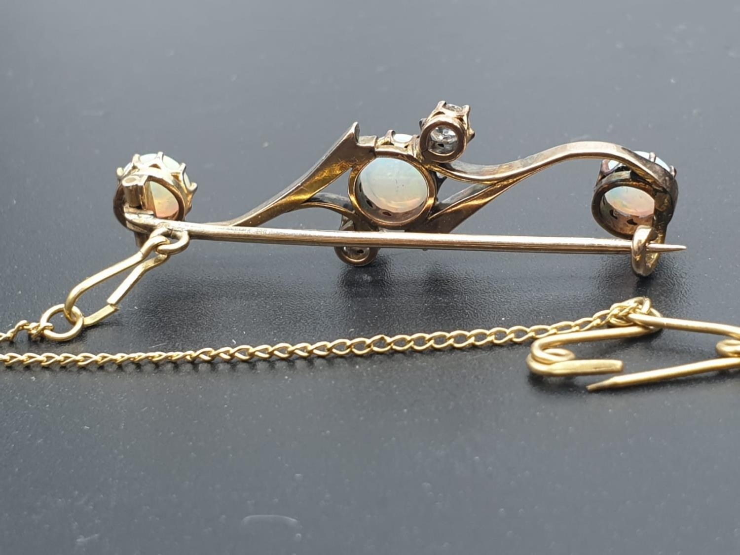 Opal Yellow Metal and Diamonds Antique BAR BROOCH. 3.5g 4cm width. - Image 5 of 8
