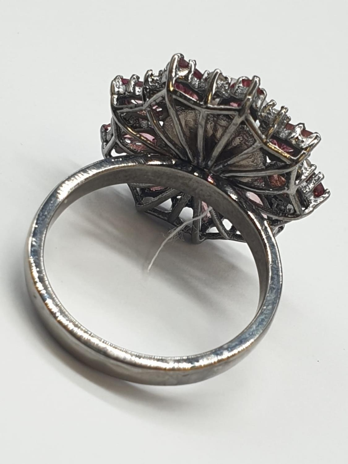4.40 Cts Pearl & 2.35 Cts Pink Tourmalines set inside a 925 Blackened silver ring. With 0.20 Cts - Image 4 of 7