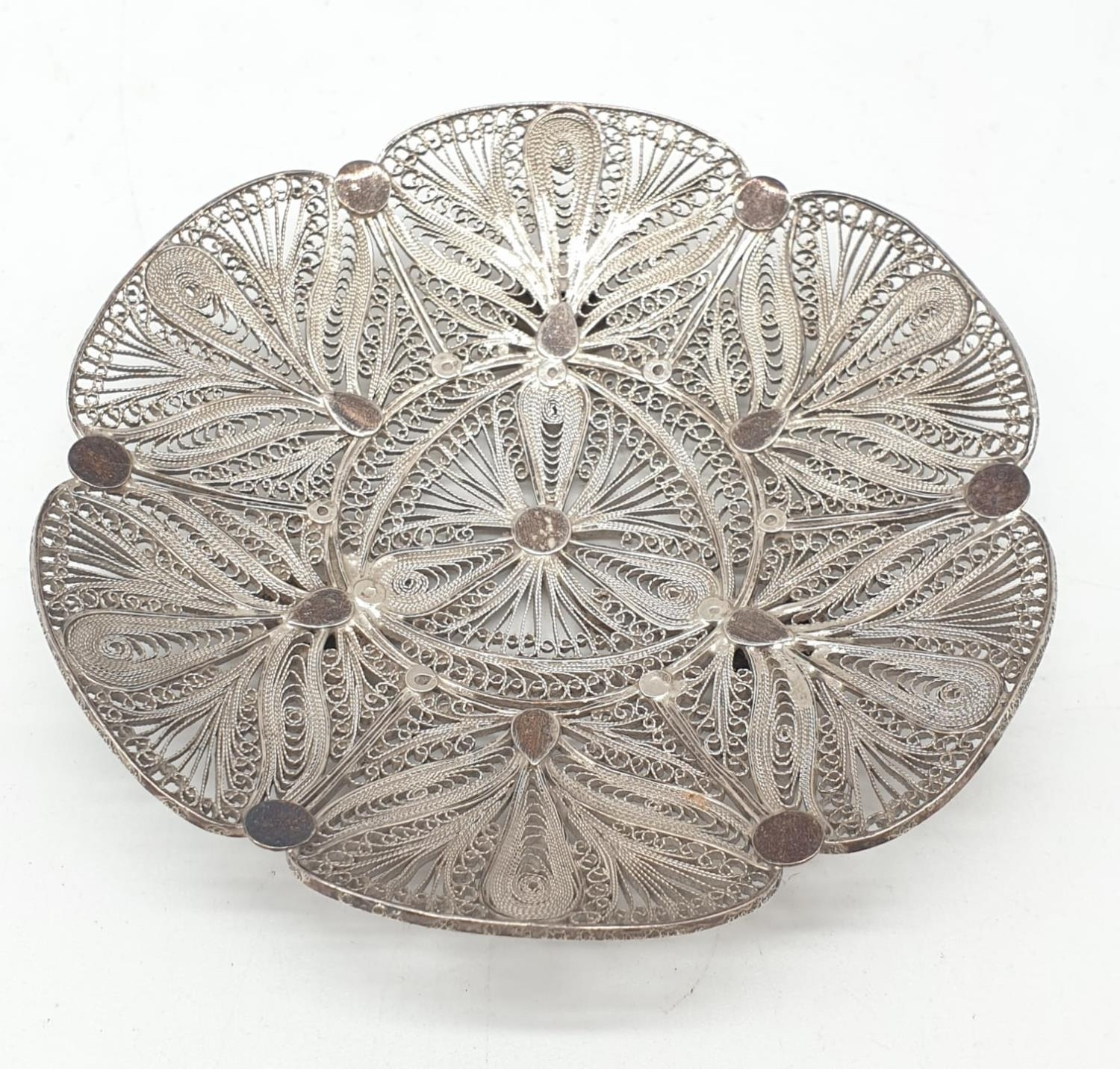 Silver filigree dish. 61.3g in weight. 10cm diameter. - Image 2 of 4