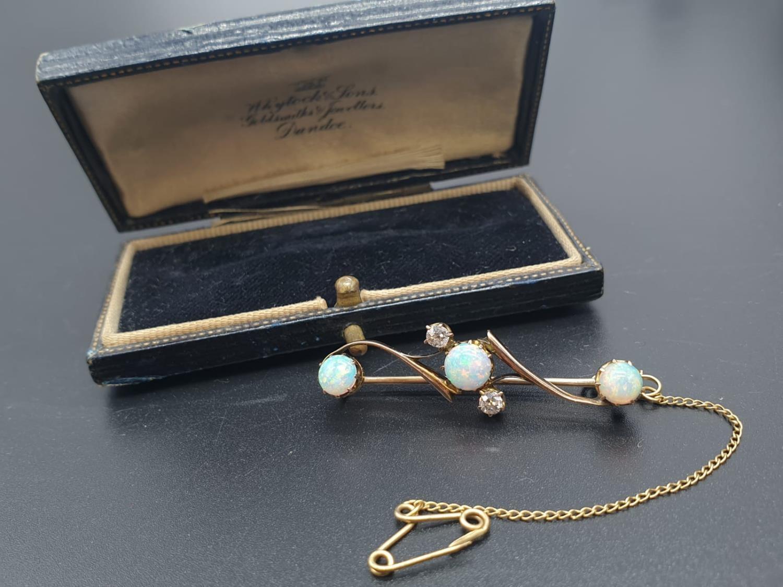 Opal Yellow Metal and Diamonds Antique BAR BROOCH. 3.5g 4cm width.
