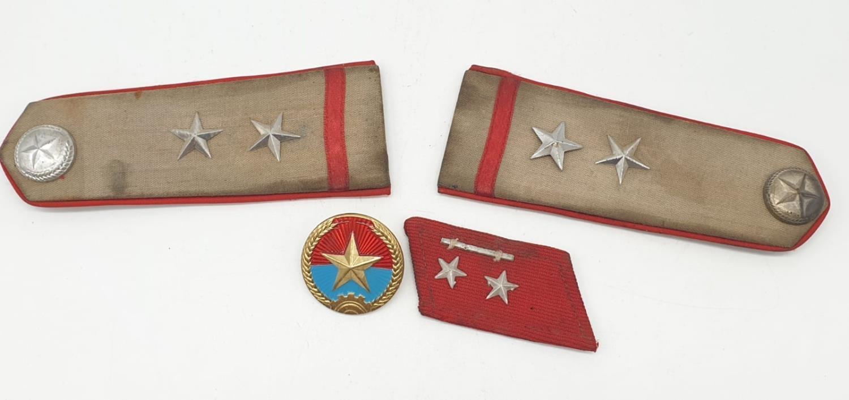 Vietnam War Era Vietcong Officers Shoulder Boards, Helmet Badge and a Collar.