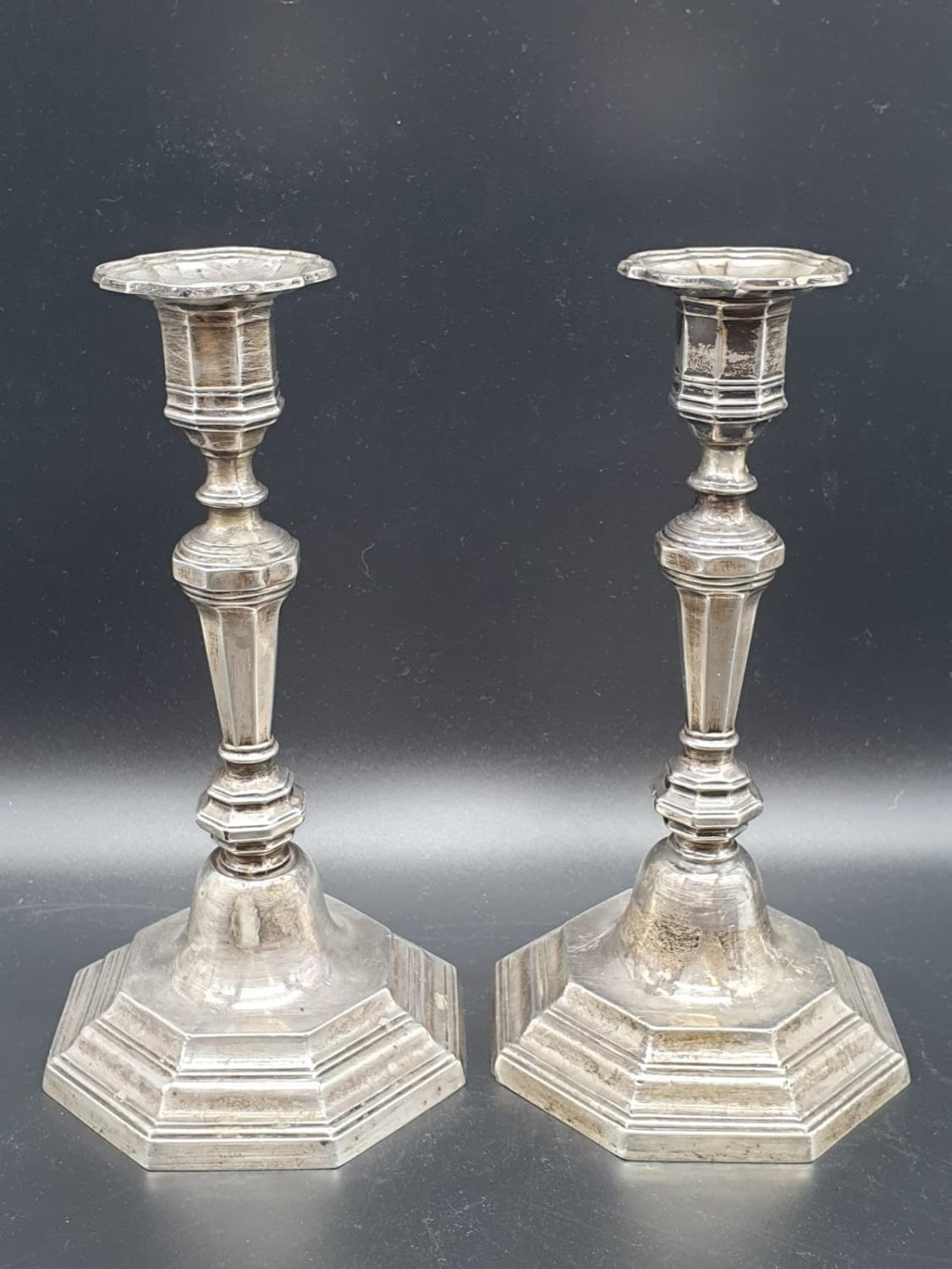 A Pair of Silver Candlesticks in Art Deco Style 23cms tall 1.6kg