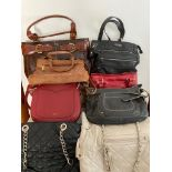 Selection of quality bag and handbags, some new and unused to include real leather, Fiorelli, Mia,