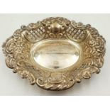 A sterling silver decorative Bon Bon dish. Made in Birmingham. Total weigh is 80g.