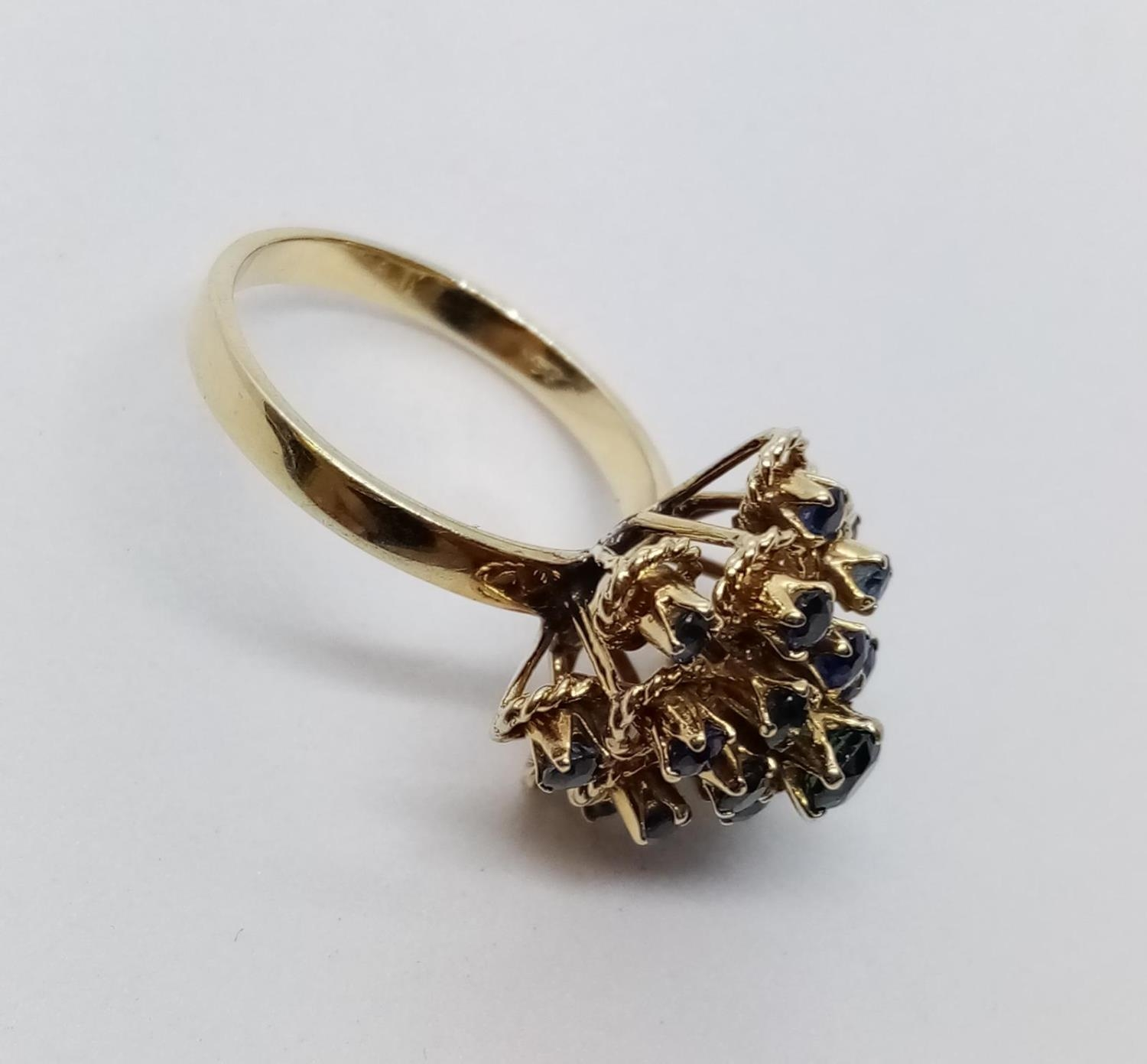 14ct Sapphire Cluster RING. 4.9g Size L. - Image 3 of 7