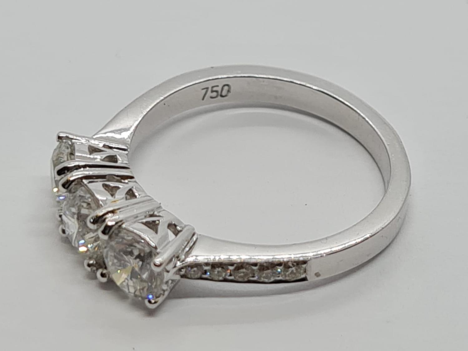 18ct White Gold with Trilogy set of 1.5ct Diamonds and further encrusted diamonds on the shoulder. - Image 4 of 6
