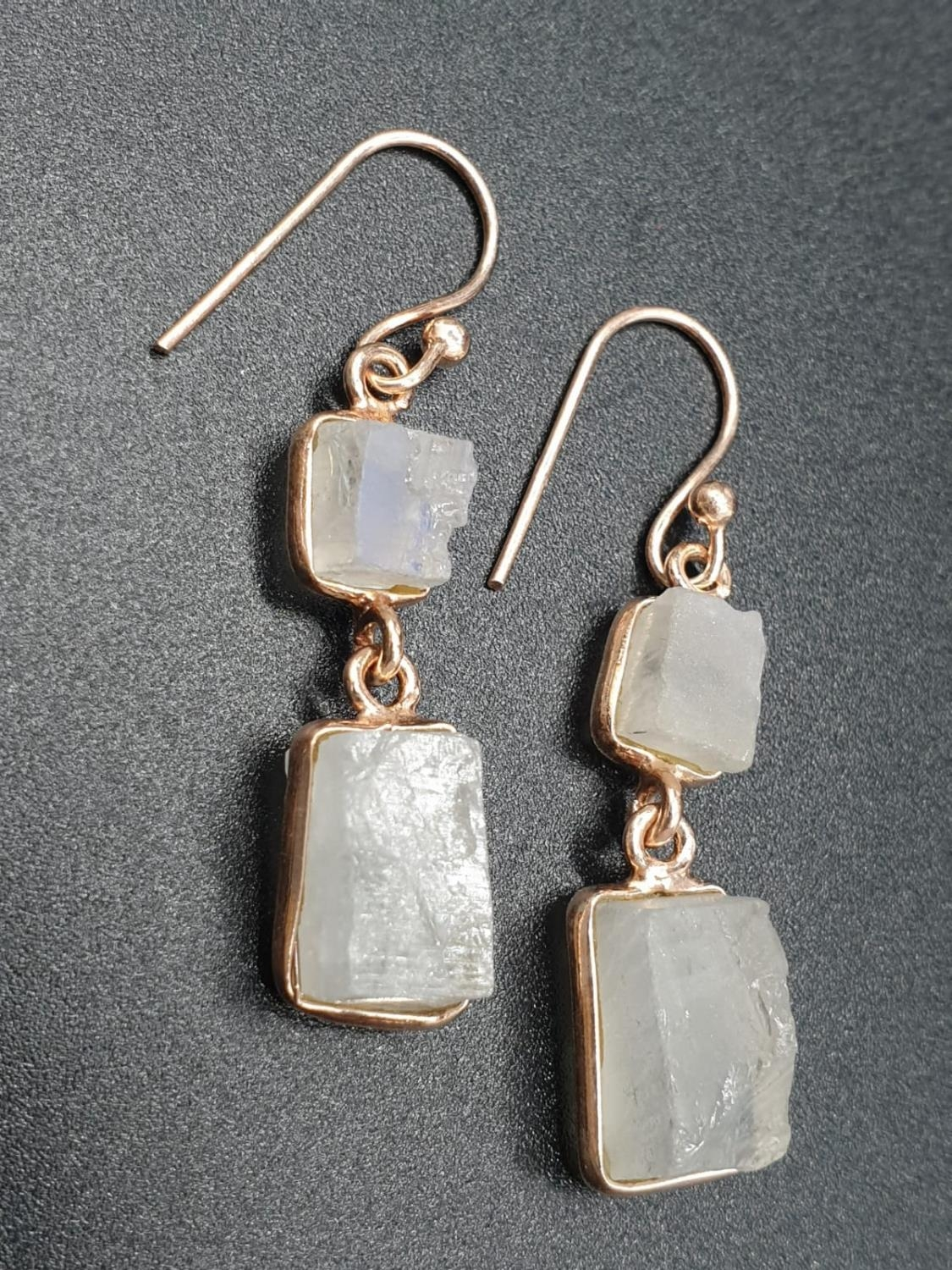 Rainbow Moonstone Bracelet with matching Raw Dangler Earrings in Sterling silver rose gold finish. - Image 2 of 5