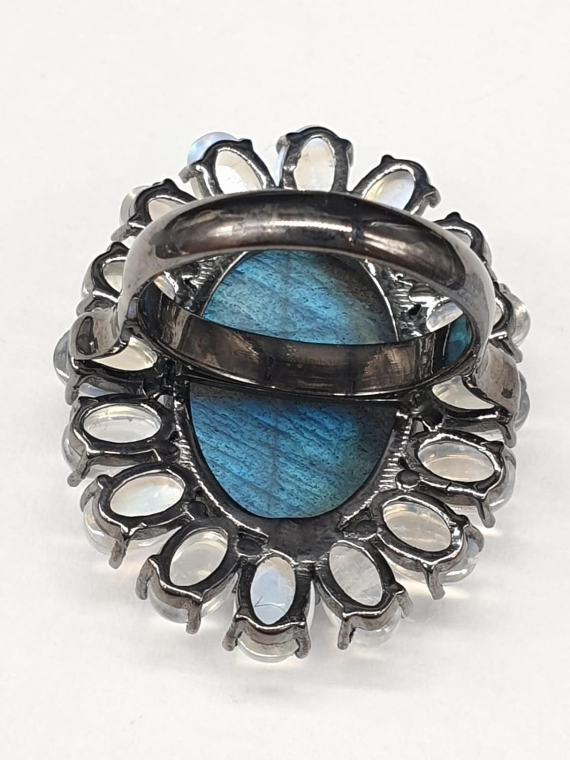 10.50 Ct Moonstones & 14.25 Ct Labradorite set within a blackened silver ring, weight 11.62g and - Image 5 of 7