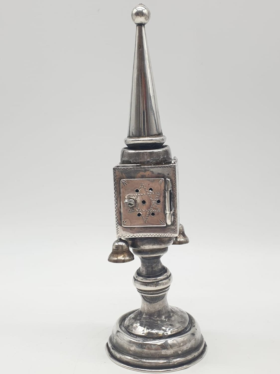Silver TOWER (missing one bell). Late 19th Cent. 94.4g 20 cm tall.
