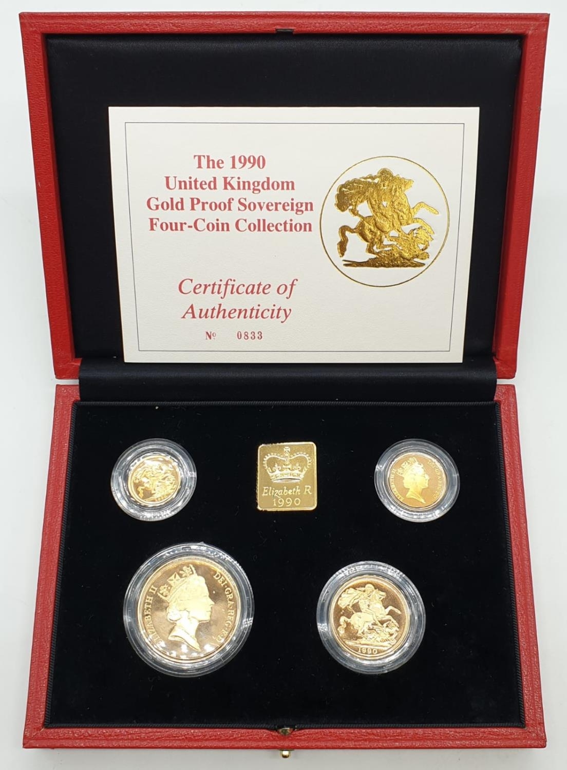 1990 UK GOLD PROOF SOVEREIGN 4 COIN COLLECTION TO INCLUDE A £5 COIN, A DOUBLE SOVEREIGN COIN, A