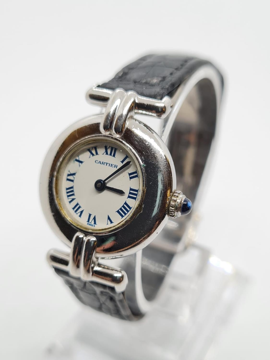 Vintage Cartier Ladies quartz WATCH with round face and Roman numerals. set in 925 Silver with - Image 2 of 5