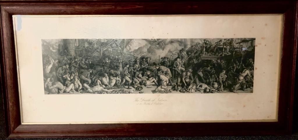 An engraving by Charles W. Sharpe- The Death of Nelson at the Battle of Trafalgar, based on the - Image 4 of 4