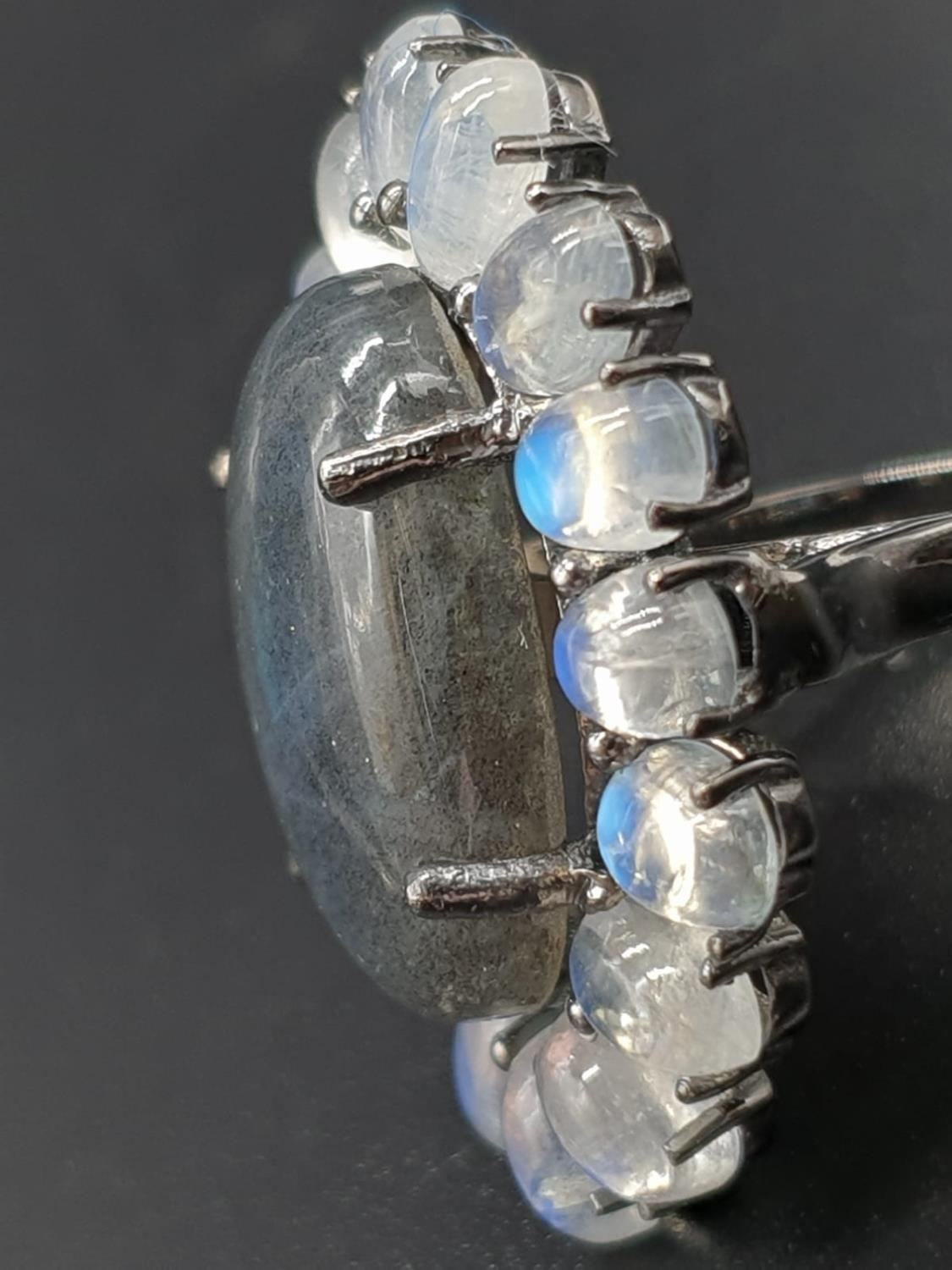 10.50 Ct Moonstones & 14.25 Ct Labradorite set within a blackened silver ring, weight 11.62g and - Image 2 of 7