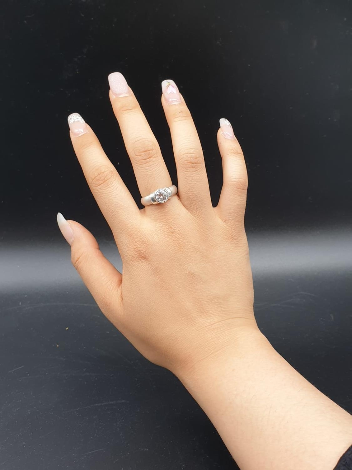 Silver Ring with large CZ Stone 3.6g Size P - Image 6 of 7