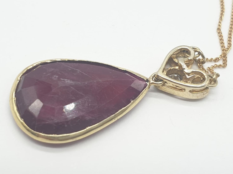 Large PENDANT 10ct Ruby & 3 x Diamonds on 9ct fine CHAIN. 5.1g. 46cm length. - Image 6 of 8