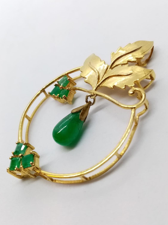 Emerald on Yellow Metal PENDANT. 7.6g - Image 2 of 3