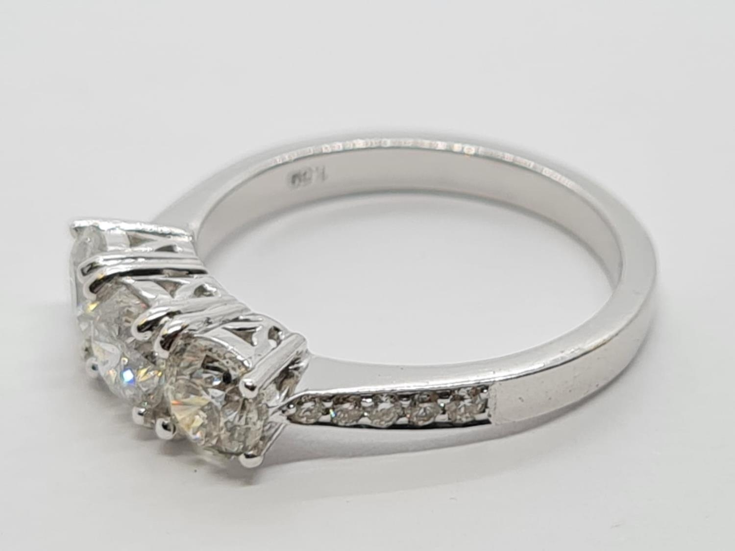18ct White Gold with Trilogy set of 1.5ct Diamonds and further encrusted diamonds on the shoulder. - Image 3 of 6