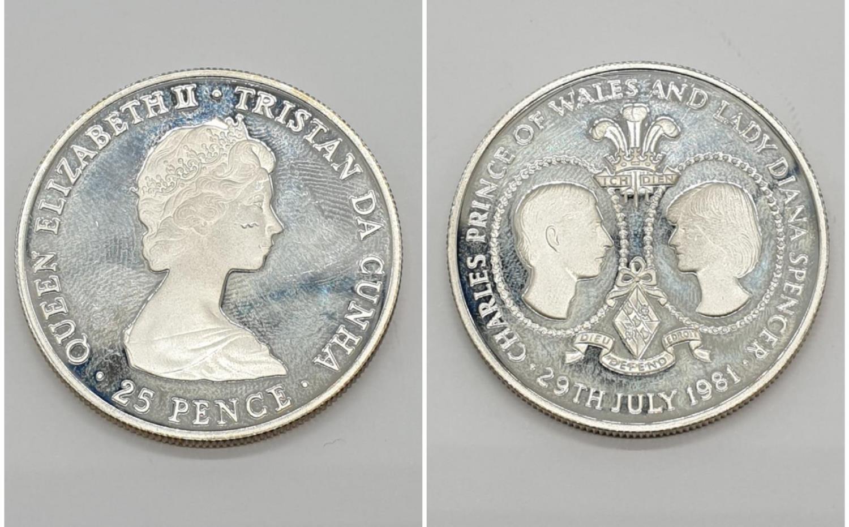 Silver Commemorative Coin Diana & Charles Wedding 29th July 1981 25 pence 28.5g Tristan Da Cunha