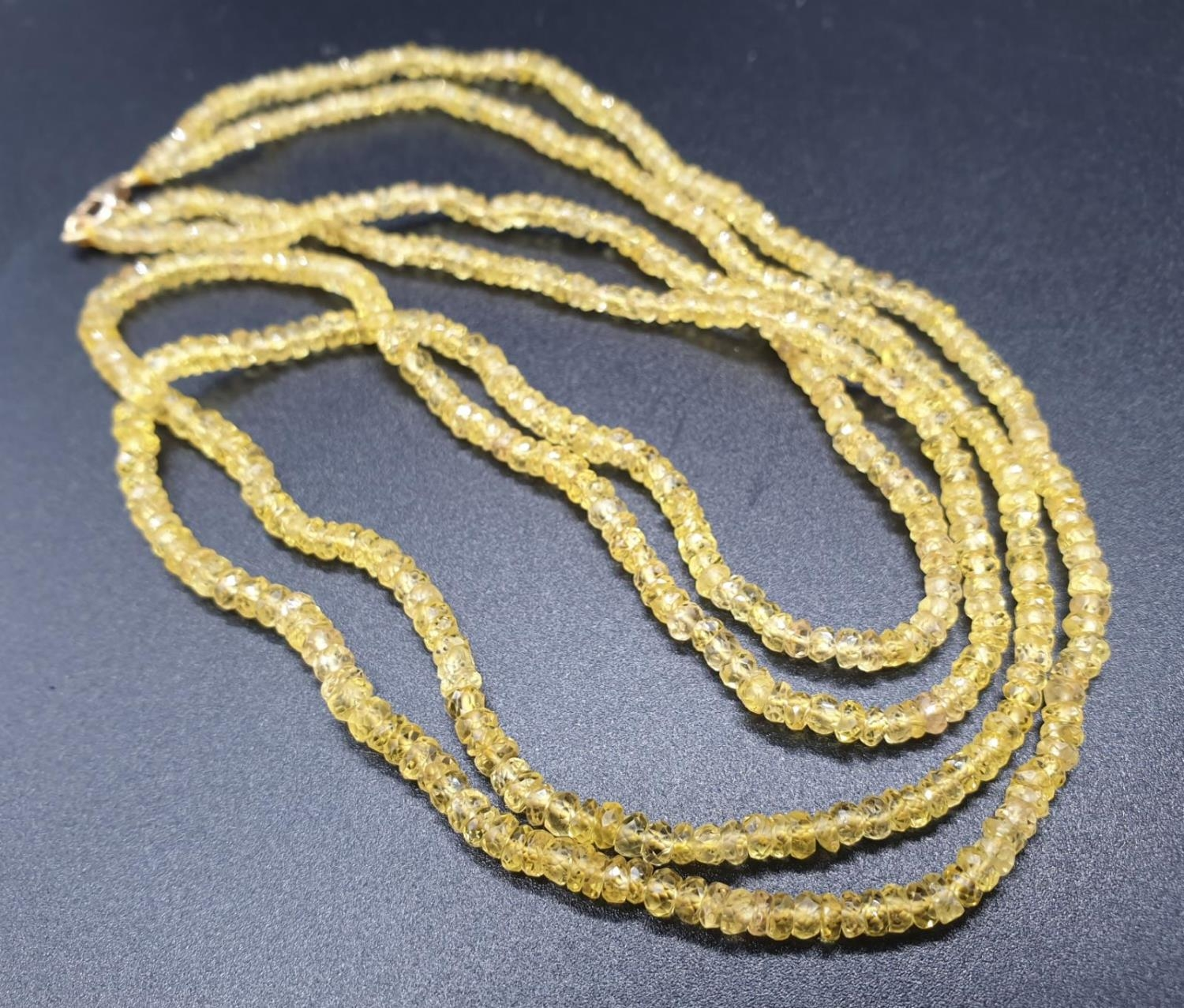 97.50 Cts Natural Yellow Sapphire gemstone beaded necklace.