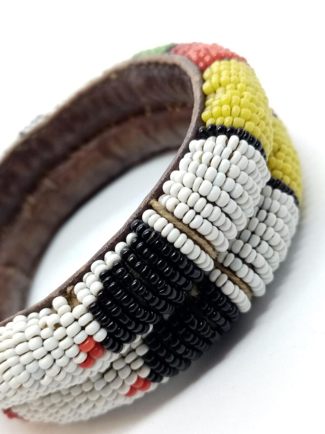 Native American hand woven leather BANGLE. - Image 4 of 4
