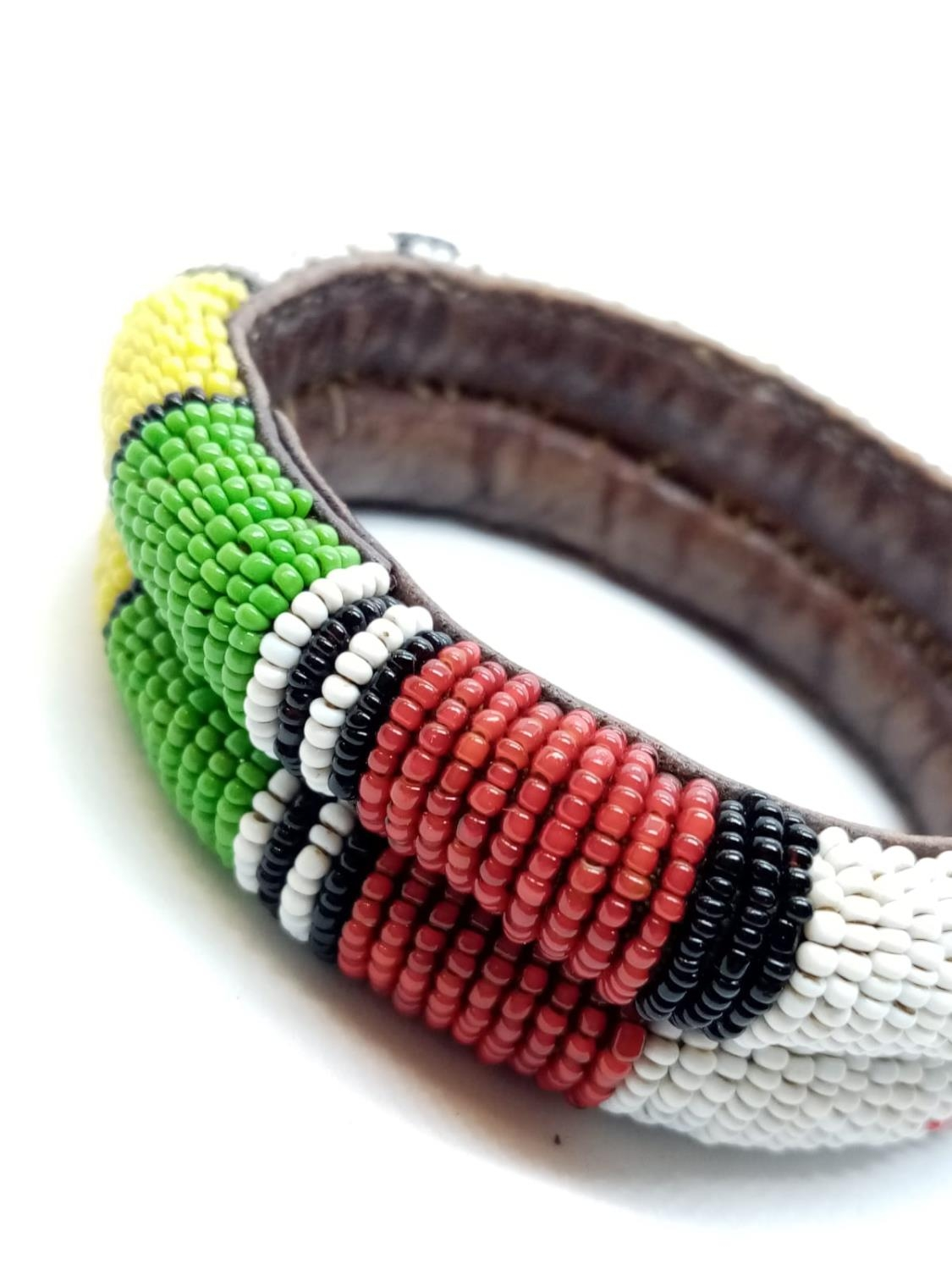 Native American hand woven leather BANGLE. - Image 3 of 4