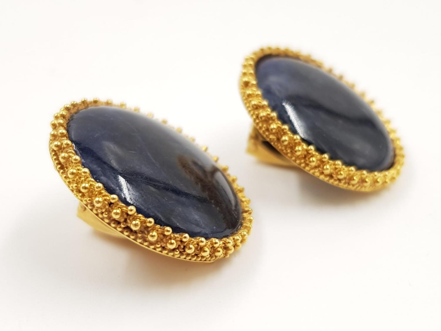 A pair of Lalaounis designer 18ct gold and sodalite earrings. 20.44g total weight.
