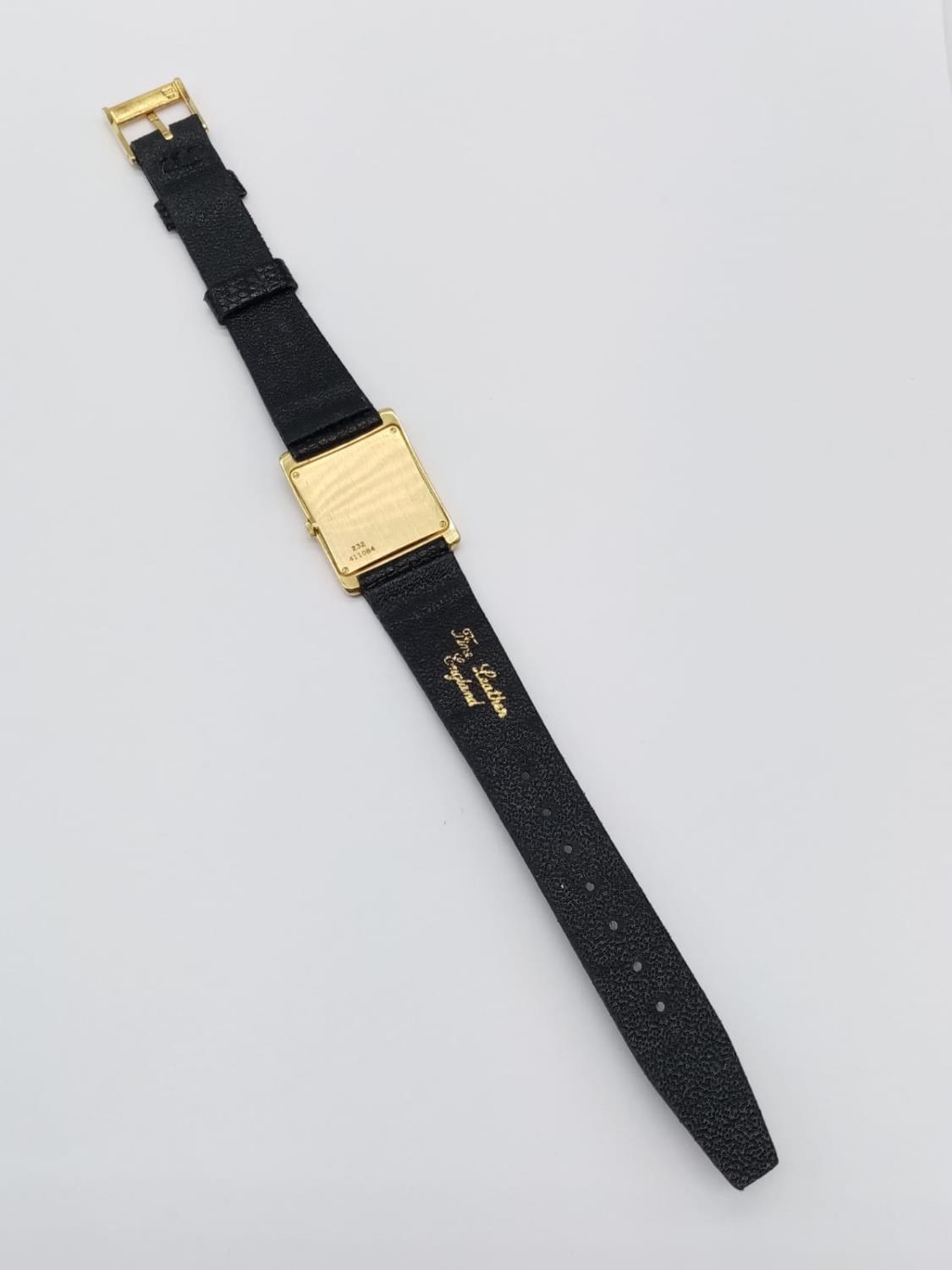 Vintage Plaget 18ct gold ladies watch with square face (22mm) and leather strap - Image 6 of 10