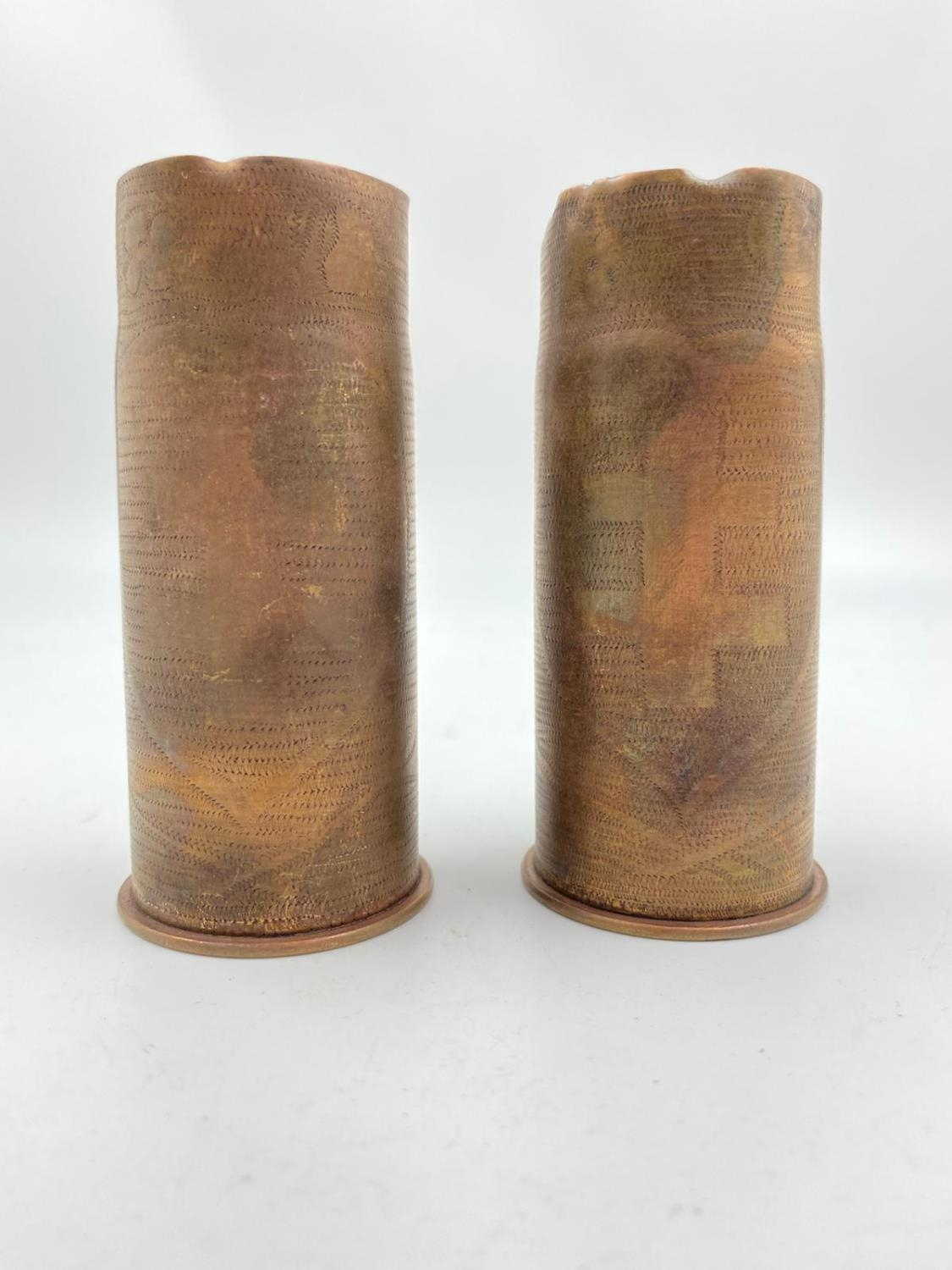 2 x INERT Trench Art 37mm Hotchkiss Cases. They could do with a good polish.