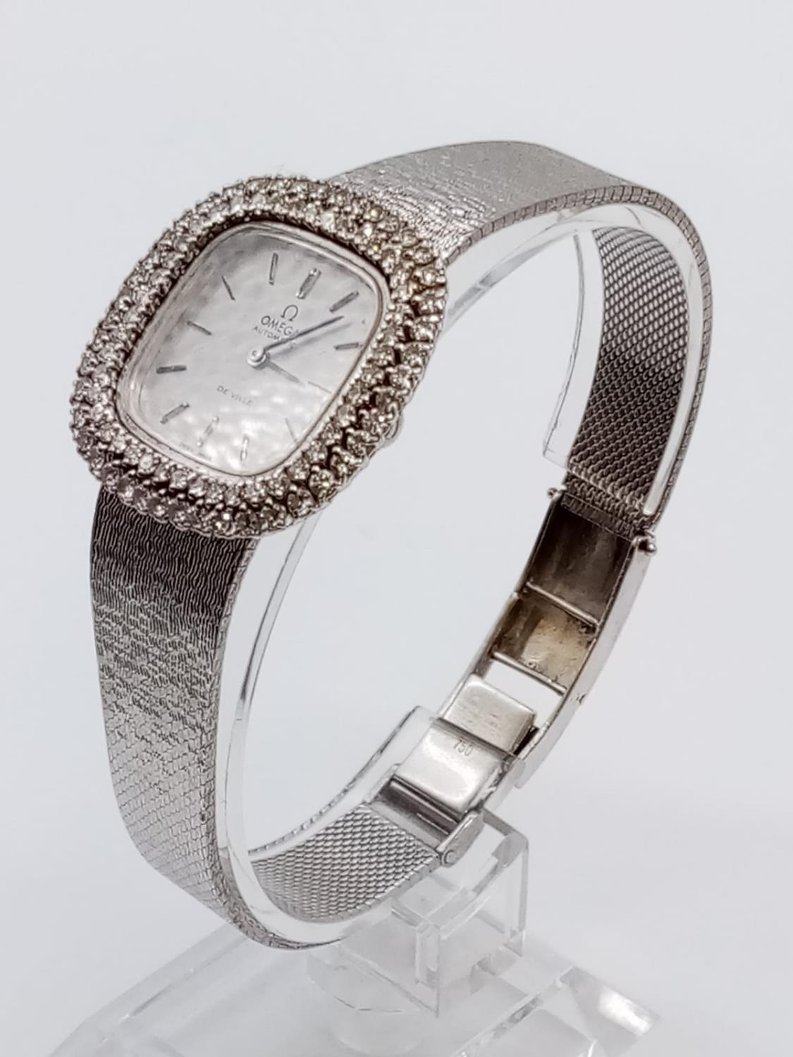 Vintage 18ct white gold OMEGA de Ville ladies automatic watch, square face with diamond encrusted - Image 3 of 7