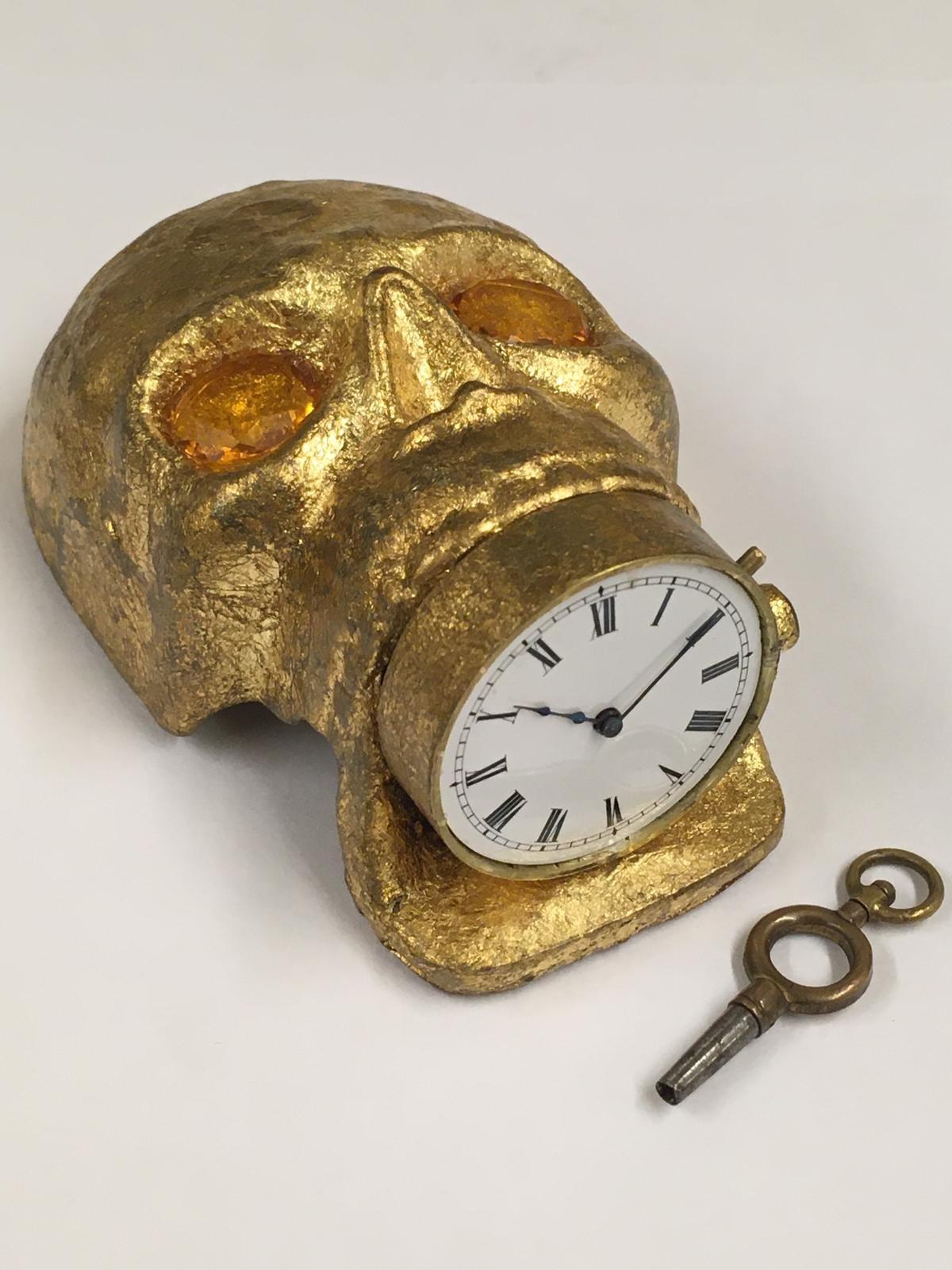 Antique 19th century Masonic memento mori Pocket watch movement timepiece . ( working ) skull with